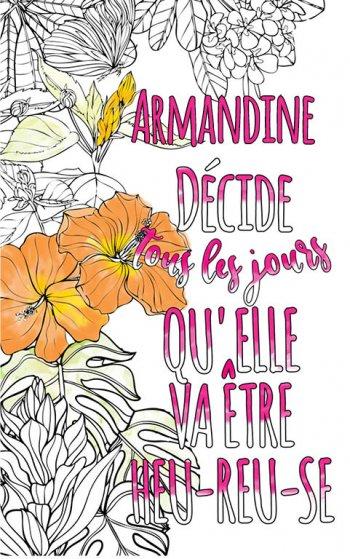 Exemple de coloriage adulte anti stress personalisé avec prénom Armandine . Une idée de cadeau personnalisé. Citation : Armandine décide tous les jours qu'elle va être heureuse