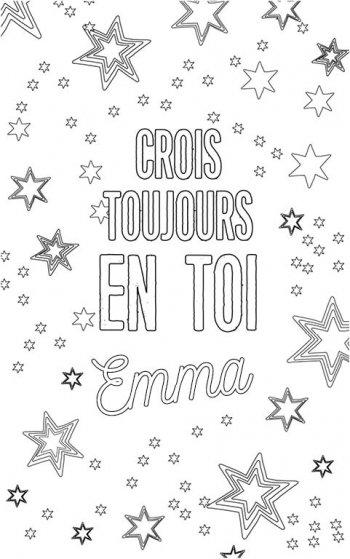 coloriage adulte personalisé avec prénom Emma. Citation : crois toujours en toi Emma