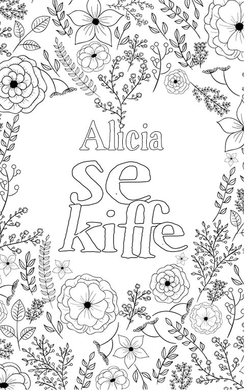 coloriage adulte anti stress personalisé avec prénom Alicia