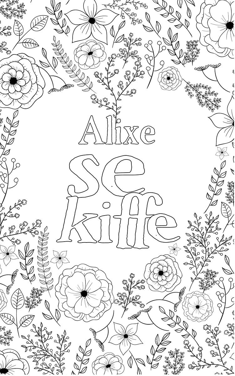 coloriage adulte anti stress personalisé avec prénom Alixe