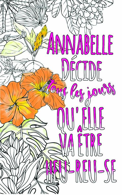 coloriage adulte anti stress personalisé avec prénom Annabelle idée cadeau meilleure amie