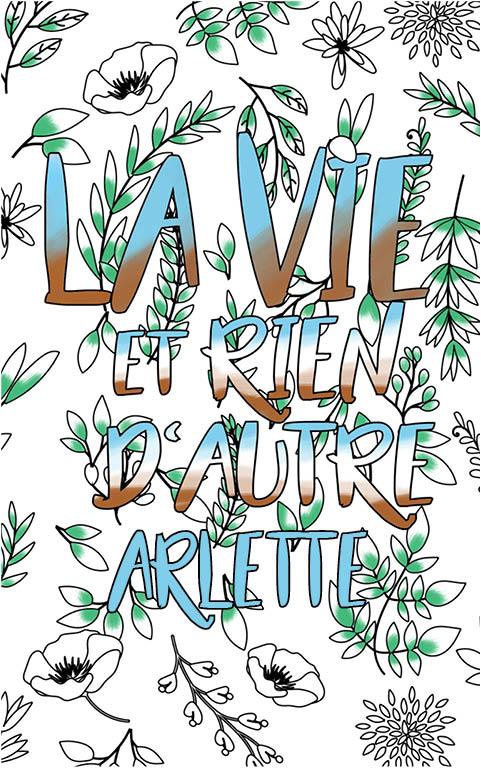 coloriage adulte anti stress personalisé avec prénom Arlette idée cadeau meilleure amie