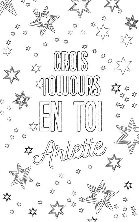 coloriage adulte anti stress personalisé avec prénom Arlette