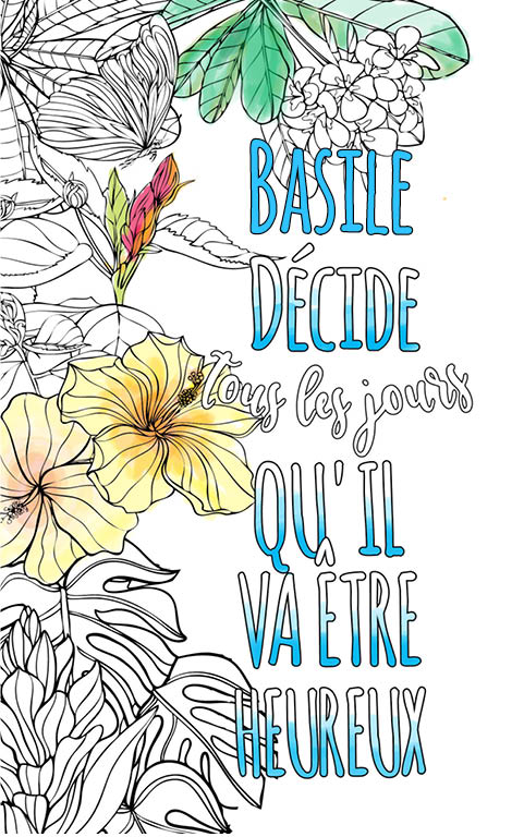 coloriage adulte anti stress personalisé avec prénom Basile idée cadeau meilleur ami