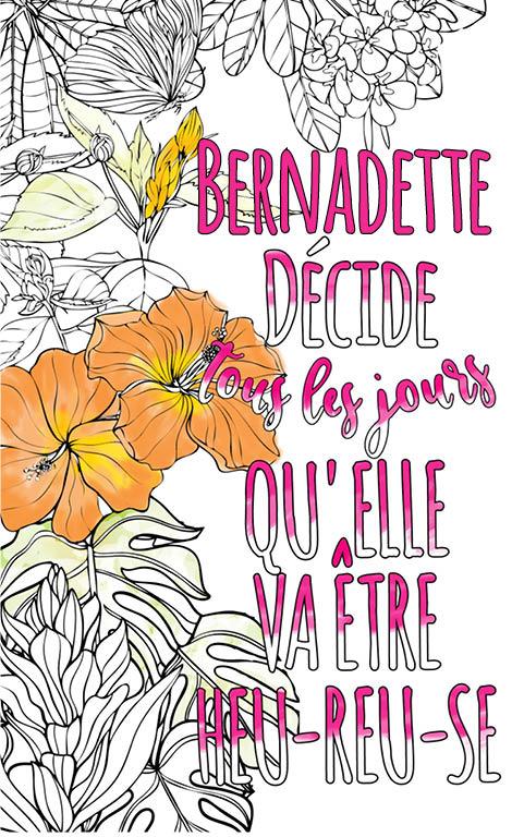 coloriage adulte anti stress personalisé avec prénom Bernadette idée cadeau meilleure amie