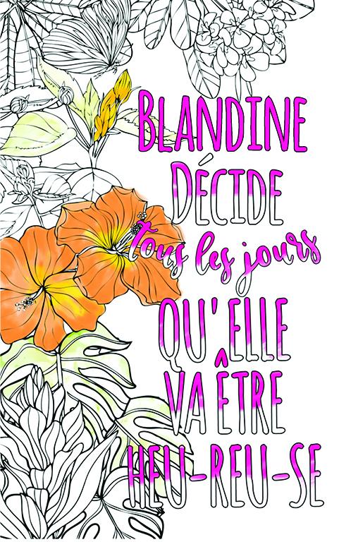 coloriage adulte anti stress personalisé avec prénom Blandine idée cadeau meilleure amie