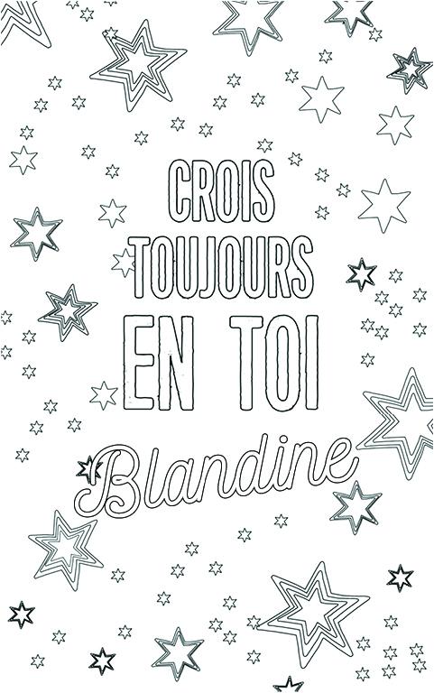 coloriage adulte anti stress personalisé avec prénom Blandine