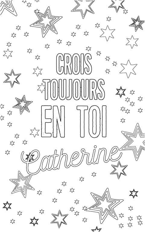coloriage adulte anti stress personalisé avec prénom Catherine