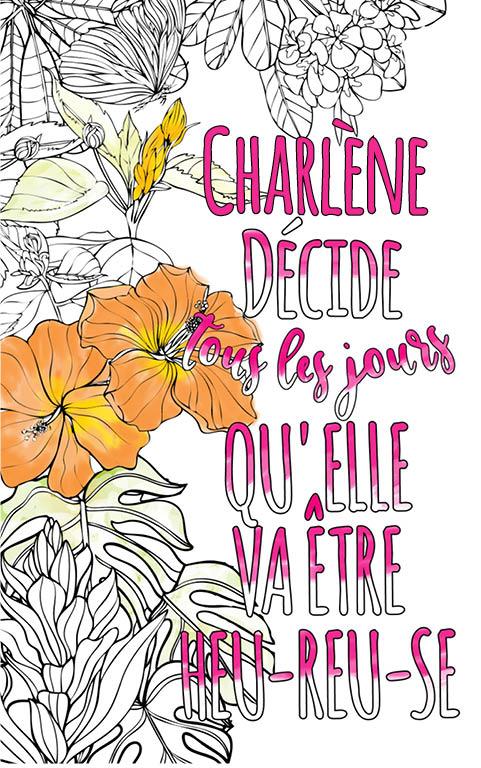 coloriage adulte anti stress personalisé avec prénom Charlène idée cadeau meilleure amie