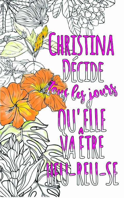 coloriage adulte anti stress personalisé avec prénom Christina idée cadeau meilleure amie