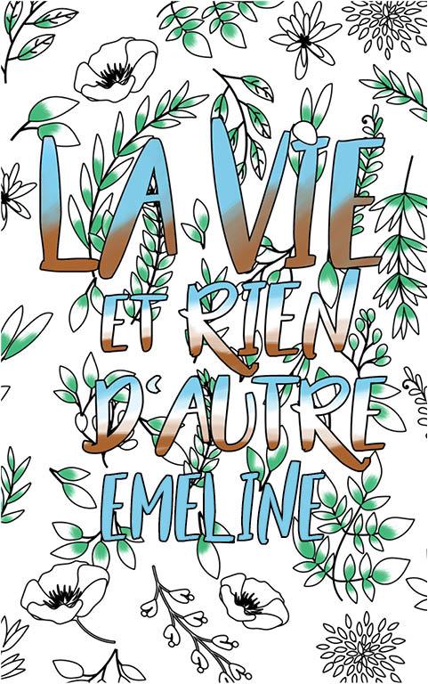 coloriage adulte anti stress personalisé avec prénom Emeline idée cadeau meilleure amie