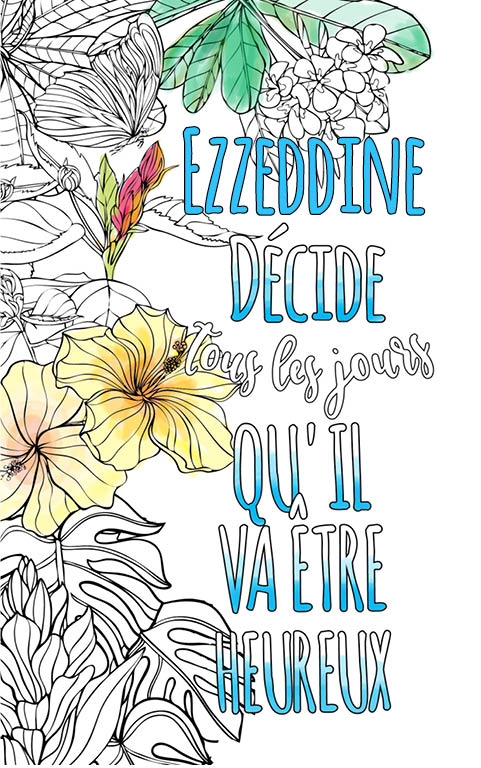coloriage adulte anti stress personalisé avec prénom Ezzeddine idée cadeau meilleur ami