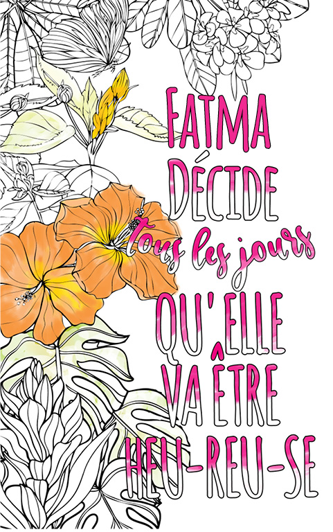 coloriage adulte anti stress personalisé avec prénom Fatma idée cadeau meilleure amie