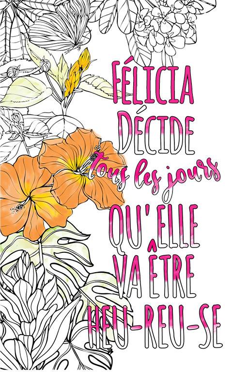 coloriage adulte anti stress personalisé avec prénom Félicia idée cadeau meilleure amie