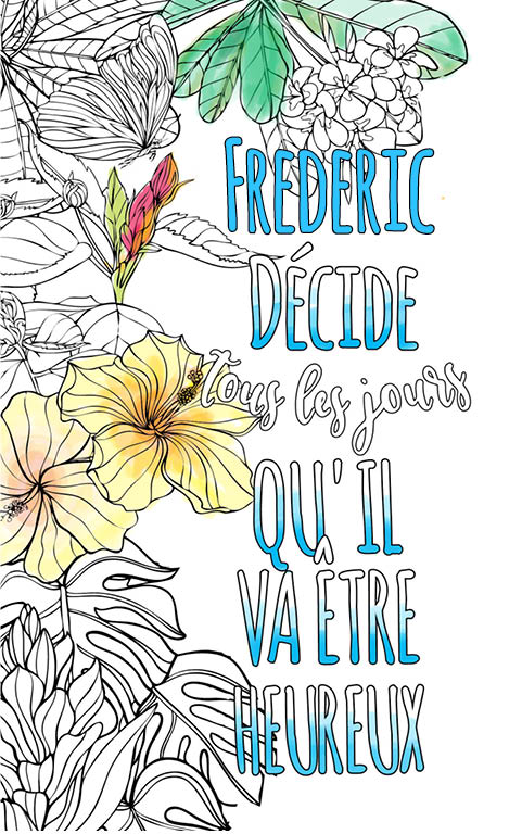 coloriage adulte anti stress personalisé avec prénom Frederic idée cadeau meilleur ami