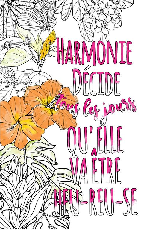 coloriage adulte anti stress personalisé avec prénom Harmonie idée cadeau meilleure amie