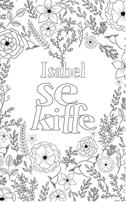 coloriage adulte anti stress personalisé avec prénom Isabel