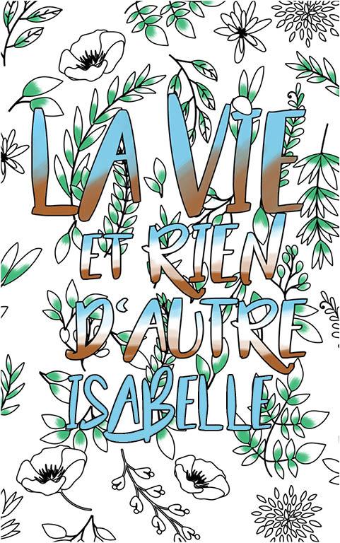coloriage adulte anti stress personalisé avec prénom Isabelle idée cadeau meilleure amie