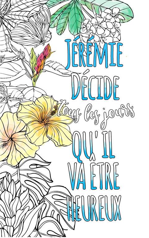coloriage adulte anti stress personalisé avec prénom Jérémie idée cadeau meilleur ami