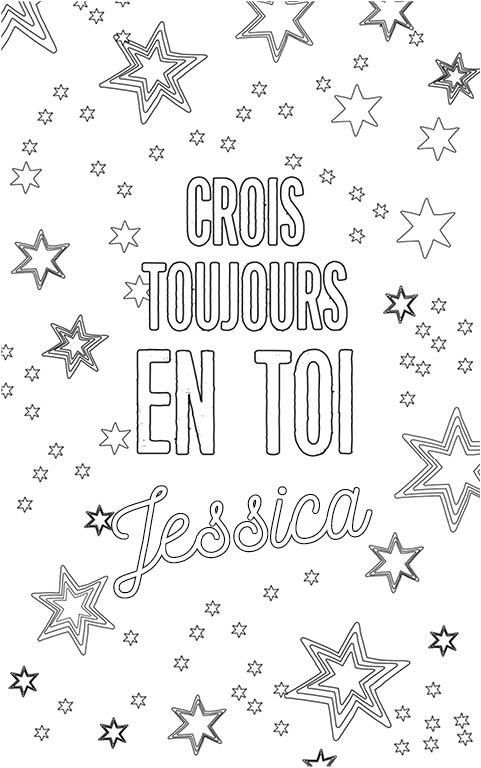 coloriage adulte anti stress personalisé avec prénom Jessica