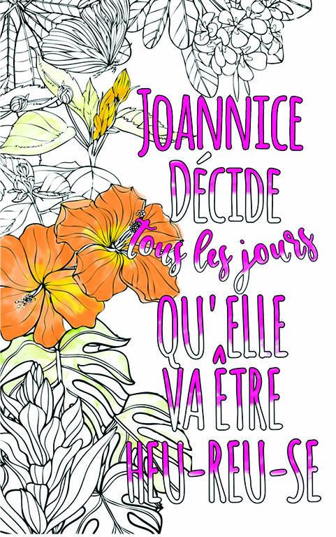 coloriage adulte anti stress personalisé avec prénom Joannice idée cadeau meilleure amie