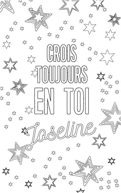 coloriage adulte anti stress personalisé avec prénom Joseline