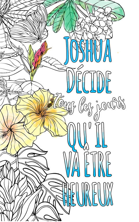 coloriage adulte anti stress personalisé avec prénom Joshua idée cadeau meilleur ami