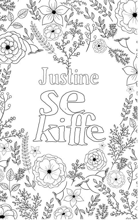 coloriage adulte anti stress personalisé avec prénom Justine
