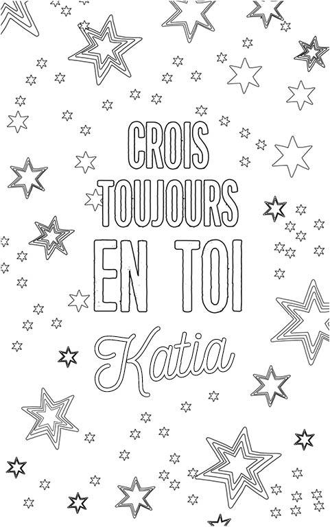 coloriage adulte anti stress personalisé avec prénom Katia