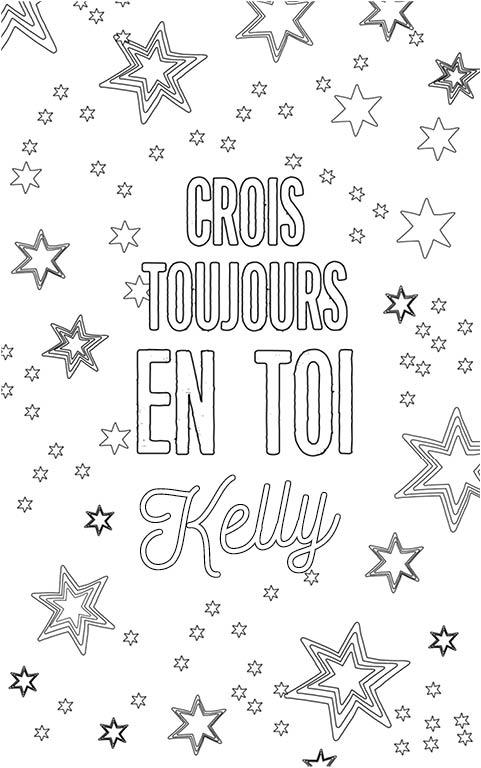 coloriage adulte anti stress personalisé avec prénom Kelly
