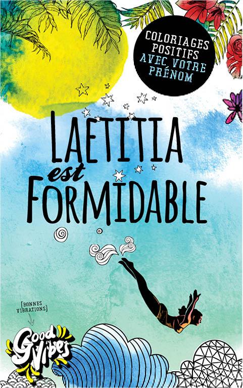 Laetitia est formidable livre de coloriage personalisé cadeau pour sa meilleure amie ou sa mère