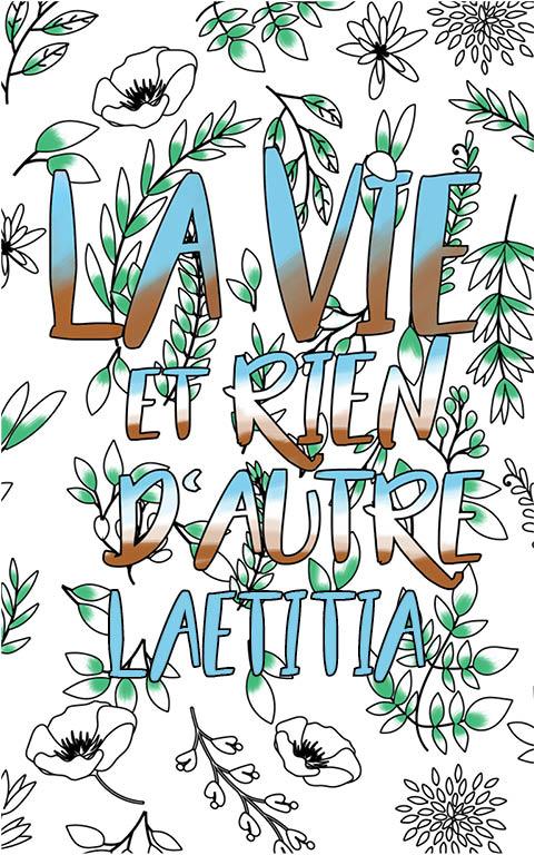 coloriage adulte anti stress personalisé avec prénom Laetitia idée cadeau meilleure amie