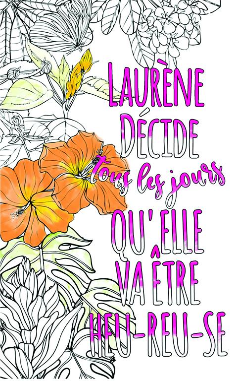 coloriage adulte anti stress personalisé avec prénom Laurène idée cadeau meilleure amie