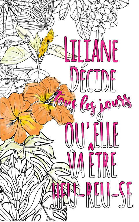 coloriage adulte anti stress personalisé avec prénom Liliane idée cadeau meilleure amie