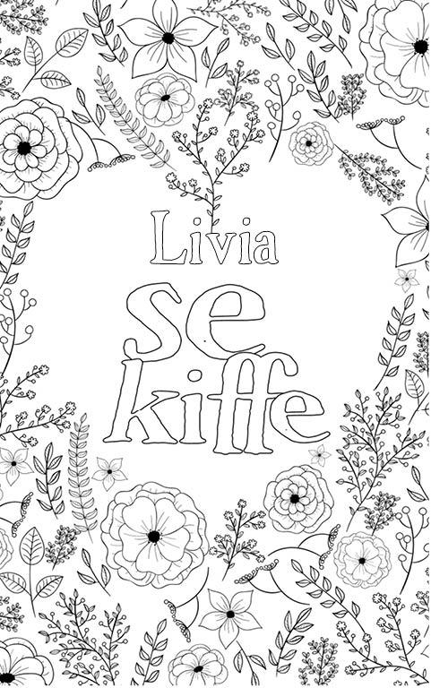 coloriage adulte anti stress personalisé avec prénom Livia
