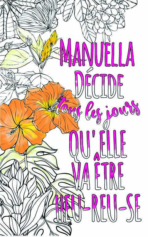 coloriage adulte anti stress personalisé avec prénom Manuella idée cadeau meilleure amie