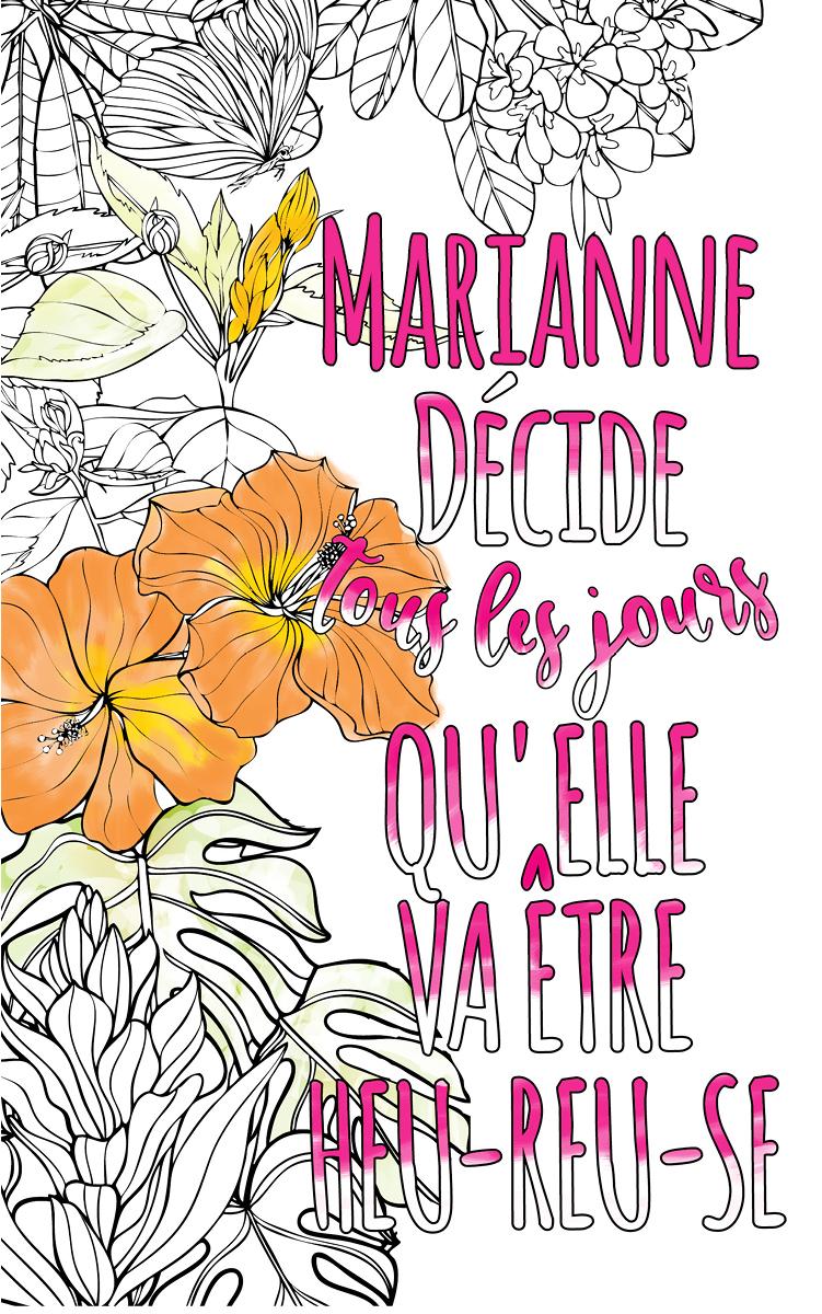 coloriage adulte anti stress personalisé avec prénom  idée cadeau Marianne