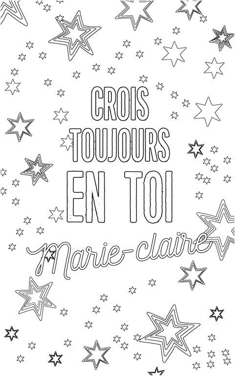 coloriage adulte anti stress personalisé avec prénom Marie-Claire
