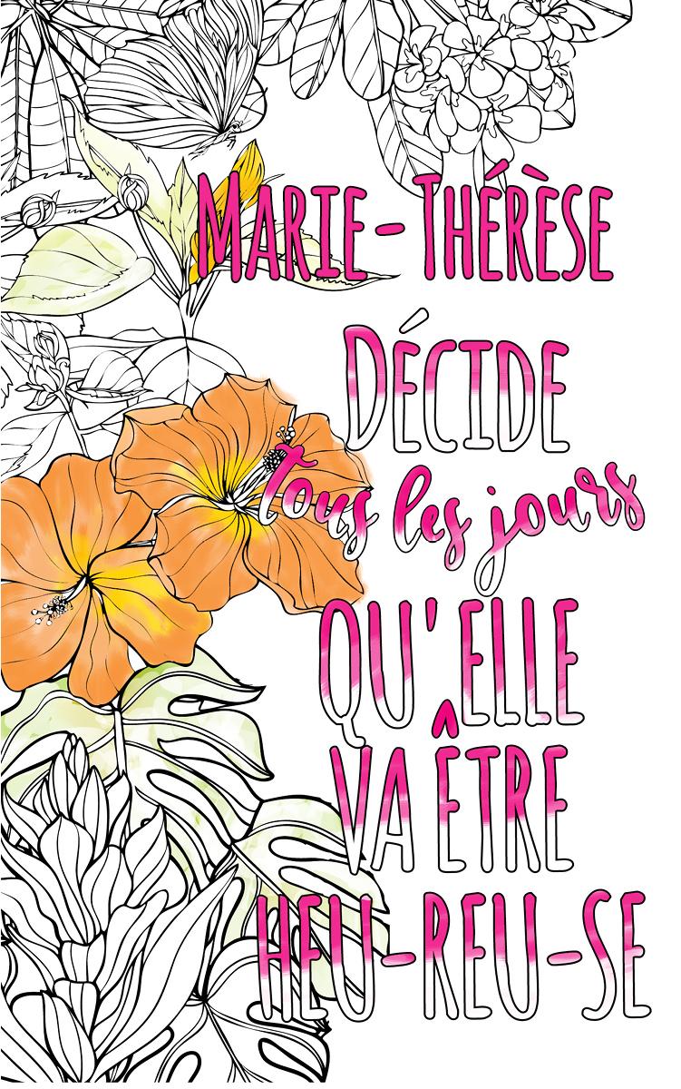 coloriage adulte anti stress personalisé avec prénom  idée cadeau Marie-Thérèse
