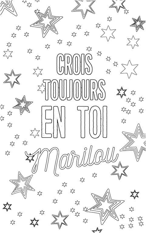coloriage adulte anti stress personalisé avec prénom Marilou