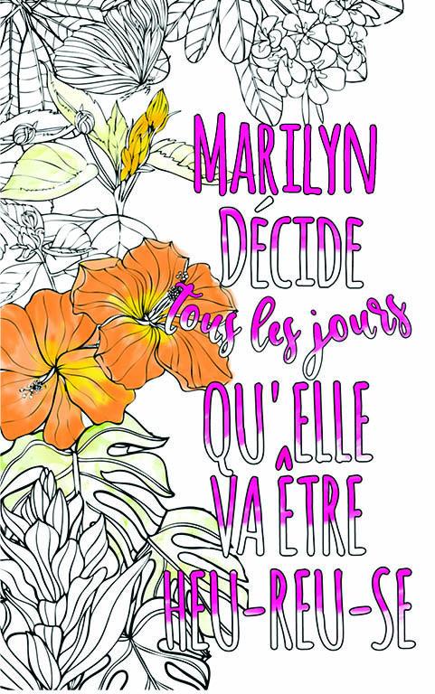 coloriage adulte anti stress personalisé avec prénom Marilyn idée cadeau meilleure amie