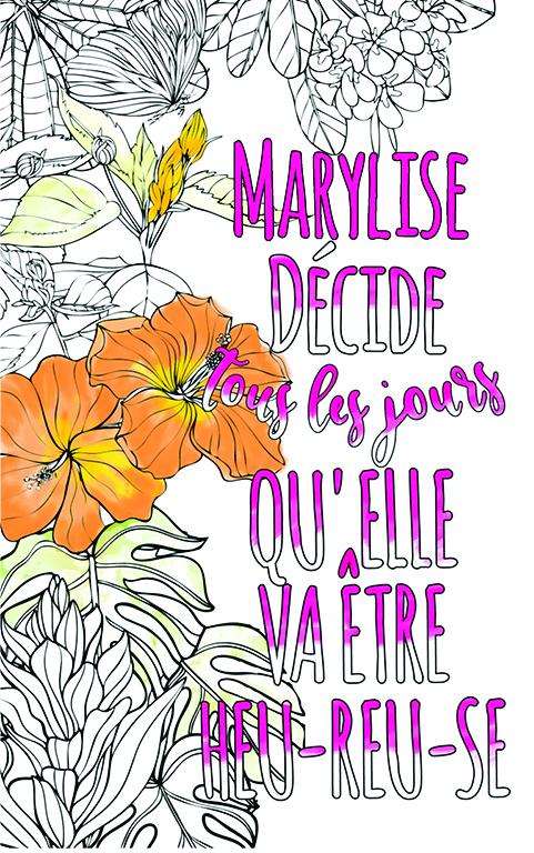 coloriage adulte anti stress personalisé avec prénom Marylise idée cadeau meilleure amie