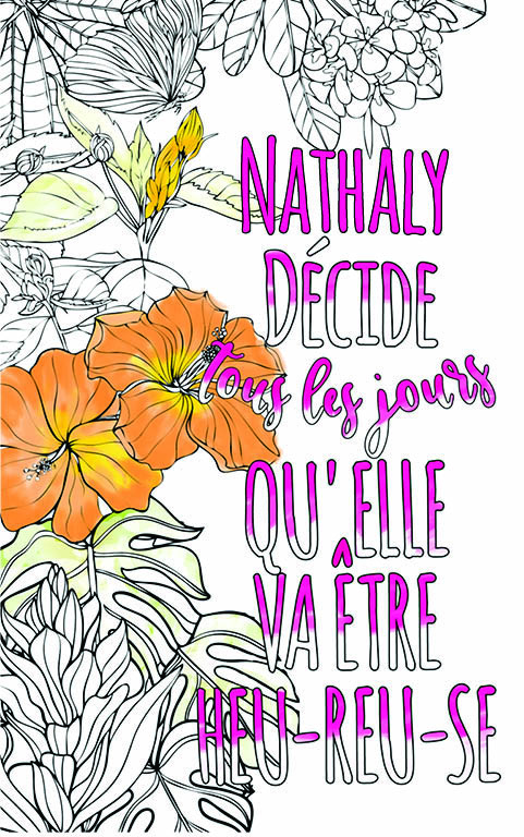 coloriage adulte anti stress personalisé avec prénom Nathaly idée cadeau meilleure amie