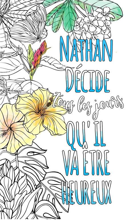 coloriage adulte anti stress personalisé avec prénom Nathan idée cadeau meilleur ami