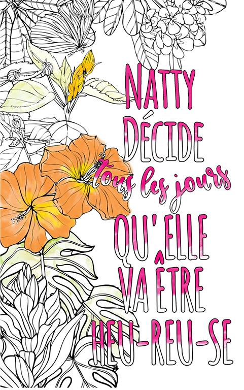 coloriage adulte anti stress personalisé avec prénom Natty idée cadeau meilleure amie