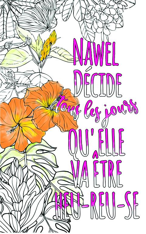 coloriage adulte anti stress personalisé avec prénom Nawel idée cadeau meilleure amie