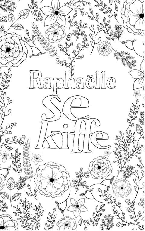 coloriage adulte anti stress personalisé avec prénom Raphaëlle