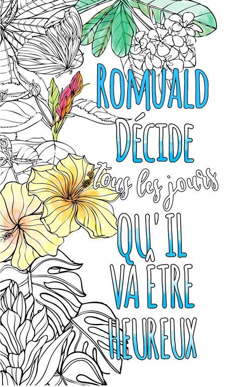 coloriage adulte anti stress personalisé avec prénom Romuald idée cadeau meilleur ami