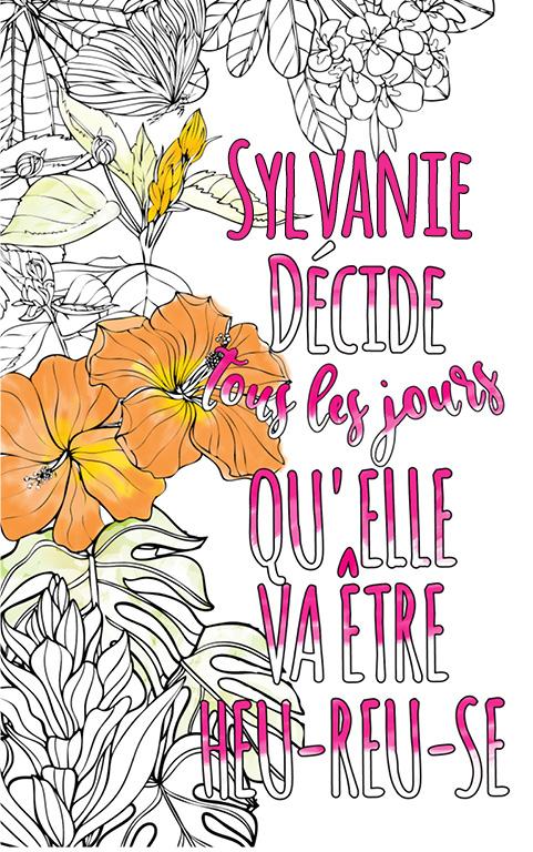coloriage adulte anti stress personalisé avec prénom Sylvanie idée cadeau meilleure amie